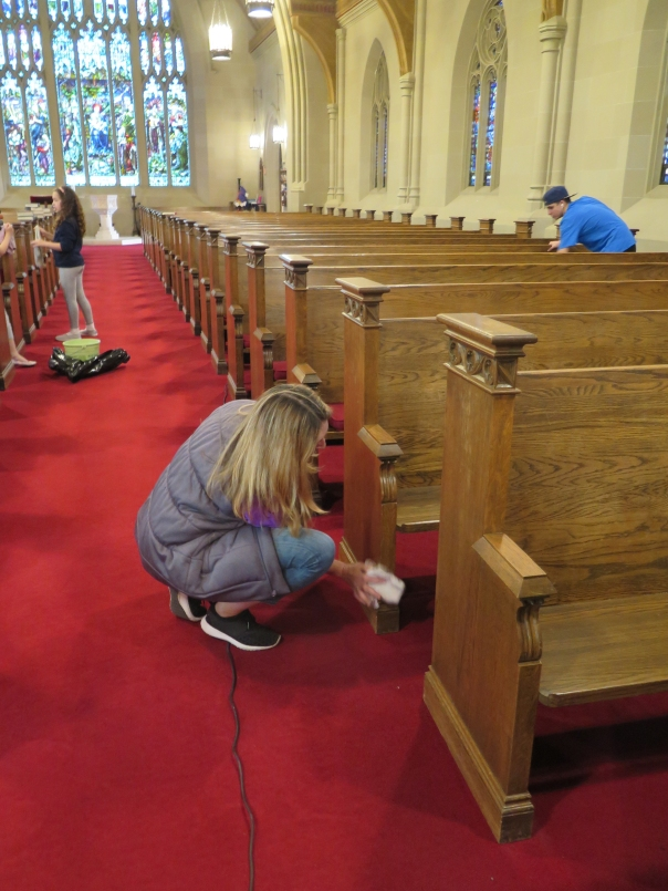 9-26-15Cleaning pews Mary EAves